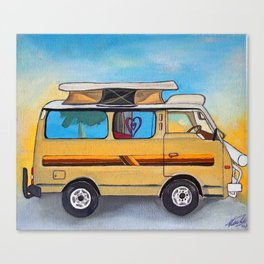 Magic campervan in the sunset Canvas Print