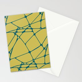 Tropical Dark Teal Abstract Mosaic Pattern 1 Inspired by Sherwin Williams 2020 Trending Color Oceanside SW6496 on Dark Yellow Stationery Cards