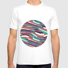 Respect Lines MEDIUM White Mens Fitted Tee