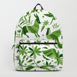 Mexican Otomí Design in Green Backpack