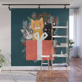 Cats cute christmas xmas tree holiday funny cat art cat lady gift unique pet gifts Wall Mural