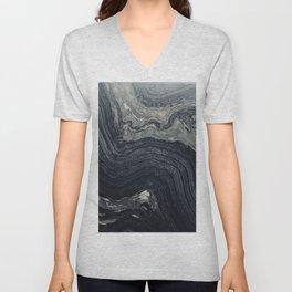 Dark Gray Marble Pattern Unisex V-Neck