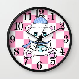 Polar Bear Drinking Hot Chocolate Wall Clock