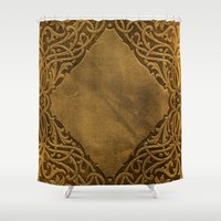 book cover Shower Curtains featuring Vintage Ornamental Book Cover by Nicolas Raymond