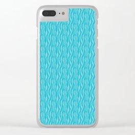Blue Zeba Animal Print Pattern Clear iPhone Case