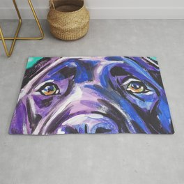 black Labrador Retriever Dog Pop Art by Lea Rug