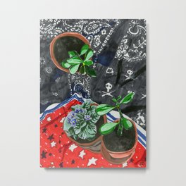 Plant Shrine with Handkerchiefs Metal Print