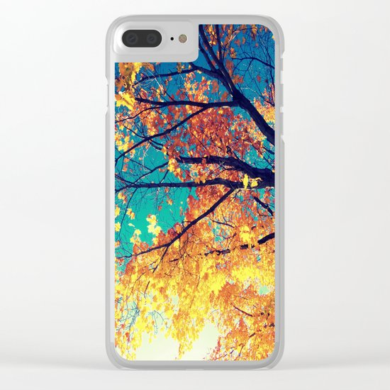 AutuMN Golden Leaves Teal Sky Clear iPhone Case