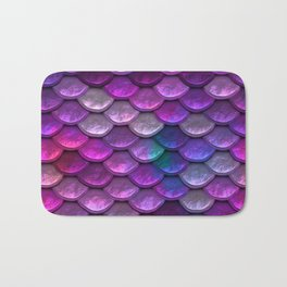 Shimmering Mermaid Scales In Bright Pink Bath Mat
