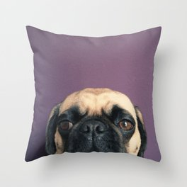 Lurking Pug Throw Pillow