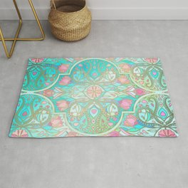 Floral Moroccan in Spring Pastels - Aqua, Pink, Mint & Peach Rug