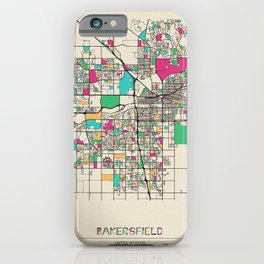 Colorful City Maps: Bakersfield, California iPhone Case