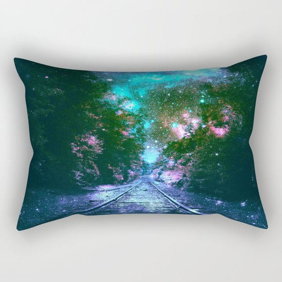 train tracks Next Stop Anywhere bright Rectangular Pillow