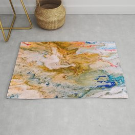 Marble Effect Acrylic Pour Abstract Rug