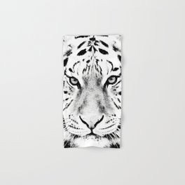 White Tiger Print Hand & Bath Towel