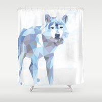 low poly Shower Curtains featuring Low Poly Wolf by idrux