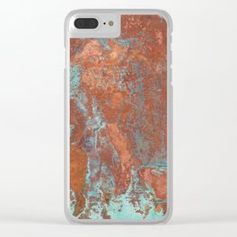 Tarnished Metal Copper Texture - Natural Marbling Industrial Art Clear iPhone Case