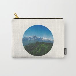 Mid Century, Modern, Round, Circle, Photo, Snow Mountain, Green Valley, Landscape Carry-All Pouch