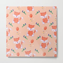 Happy Birthday Orange Fox on Orange Background Pattern Metal Print