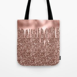 Rose Gold Drip & Sparkle Tote Bag