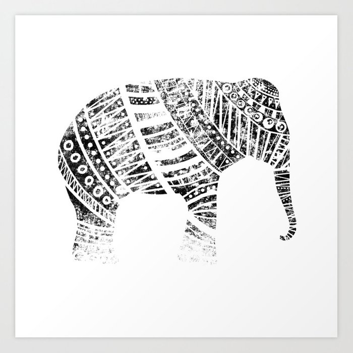 Endangered elephant - whiteout Art Print