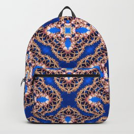 Beautiful Blue and Gold Beadwork Inspired Print Backpack