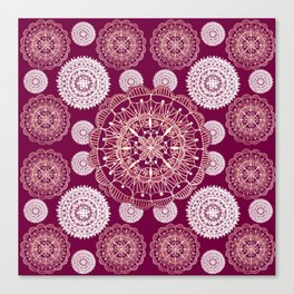 Berry and Bright Patterned Mandalas Canvas Print