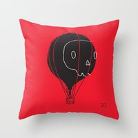 hot air balloon Throw Pillows featuring Hot Air Balloon Skull by Fupete Art
