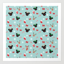 Christmas Mouse Ears Reindeers Art Print