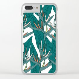 tropical strelitzia flowers leaf sketch, black contour pink coral yellow green. simple ornament Clear iPhone Case