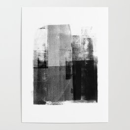 Black and White Minimalist Geometric Abstract Poster