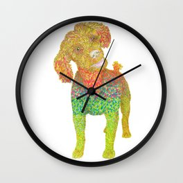 Excited Poodle Wall Clock