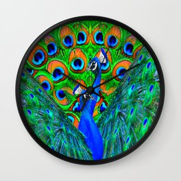 BLUE PEACOCKS PATTERN DESIGN Wall Clock