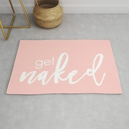 Bathroom Decor // get naked - white on light pink Rug