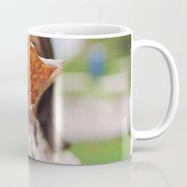 Girl holding a dry leaf Coffee Mug