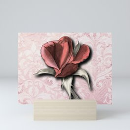 Pink Damask Stained Rosebud Mini Art Print