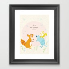 Raccoon & Armadillo Singing Framed Art Print