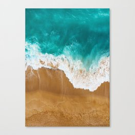 Seaside and wave #2. Sea foam. Aerial view Canvas Print