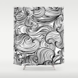 Free Flow White & Black Shower Curtain