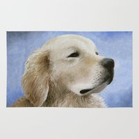 golden retriever Area & Throw Rugs featuring Dog 98 Golden Retriever by ArtbyLucie