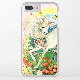 Rainbow Unicorn Garden Clear iPhone Case