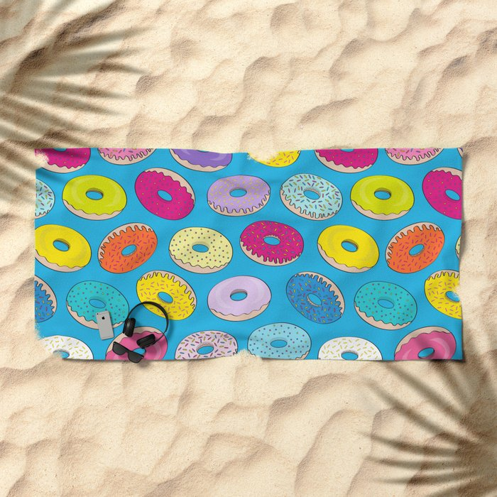 Donuts In The Sky By Everett Co Beach Towel