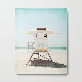 Lifeguard Stand, Beach Photography, San Diego California, Blue Aqua Seashore Ocean Summer Art Metal Print
