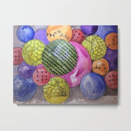 Zentangle Bubbles Metal Print