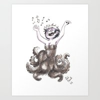 ursula Art Prints featuring Ursula by Laeti Vanille