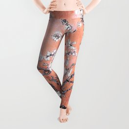 Van Gogh Almond Blossoms : Deep Peach Leggings