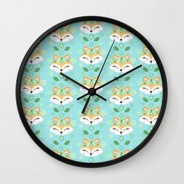 Woodland Animals Cute Fox Wall Clock