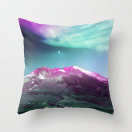 Space Mountain Vaporwaves Scene Over Washington Throw Pillow