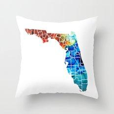 Florida - Map by Counties Sharon Cummings Art Throw Pillow