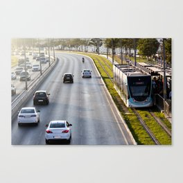 Cars and tram at seaside in Izmir (Turkey) Canvas Print